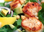 Brunch for Two: Spinach Salad with Scallops, Mango, Avocado and Candied MacadamiaNuts